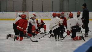Ishockeyjuniorer på isen.