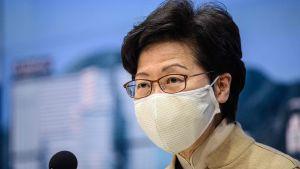 Carrie Lam talade på en presskonferens i Hongkong på onsdagen.
