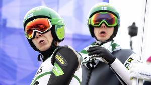 Eero Hirvonen och Ilkka Herola är de finska stjärnorna i nordisk kombination.