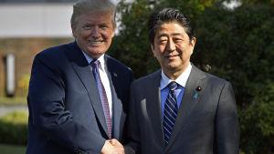 USA:s president Donald Trump och Japans premiärminister Shinzo Abe i Tokyo.