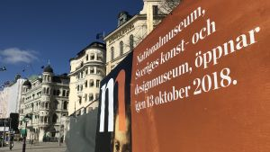 Stor reklam för att Nationalmuseum öppnar igen den 13 oktober 2018.