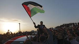 En man hänger ur en bil och viftar med en palestinsk flagga.