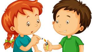 En ritad pojke tänder en cigarett för en flicka.