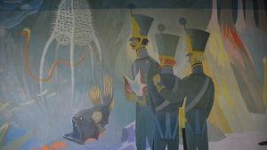 Kadetter på havsbottnen i Tove Janssons väggmålning.