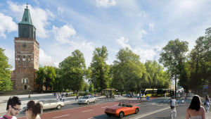Illustrerande bild av gula superbussar i kollektivtrafiken utanför Åbo Domkyrka, med fotgängare, cyklister, bilar och gröna träd.