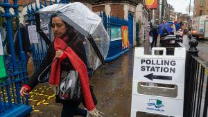 Vallokal i London 12 december 2019.