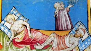 människor ligger sjuka i böldpest - ritad bild