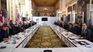 G7-ländernas utrikesministrar i London 5.5.2021. Det första konkreta ansikte-mot-asnikte-mötet på över två år.