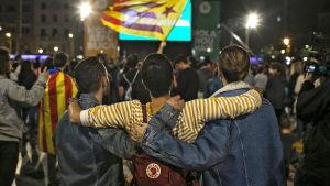 Glädje efter folkomröstningen i Katalonien.