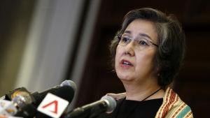 Närbild på Yanghee Lee, FN:s specialrapportör om människorättsläget i Burma.