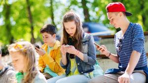 Unga som använder mobiltelefoner.