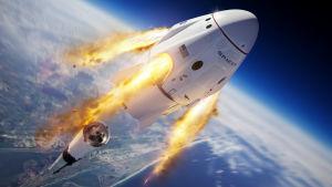 Konstnärens vision av SpaceX rymdkapsel Crew Dragon.