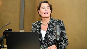Kommunikationsminister Anne Berner presenterar den så kallade trafikbalken i Helsingfors den 20 september 2016.