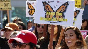 """En demonstration till stöd för Daca och """"drömmarna"""" i Los Angeles den 5 februari."""