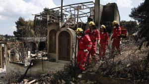 Medlemmar av grekiska Röda korset letar efter saknade människor i nedbrända hus i Mati idag, 25.7.