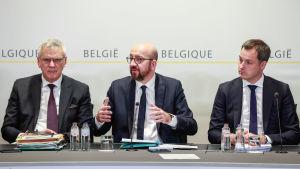 Kris Peeters, Charles Michel och Alexander De Croo.