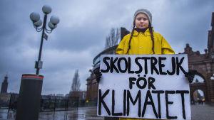 15-åriga Greta Thunberg i gul jacka, håller i en skylt med texten: skolstrejk för klimatet.