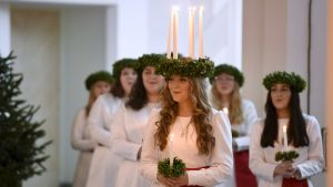 Finlands Lucia besökte presidentparet.
