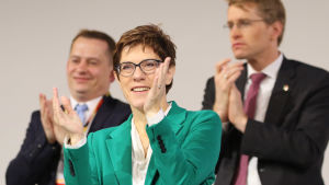 CDU:s nya partiledare  Annegret Kramp-Karrenbauer under partikongressen i Hamburg i december 2018