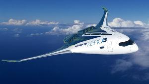 """""""Lentävä siipi"""" on kolmas Airbusin ehdotus tulevaisuuden vetykäyttöiseksi lentokoneeksi."""