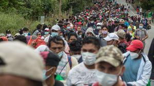 En ny grupp på ungefär 3 000 honduraner tog sig över gränsen intill  den guatemalanska gränsstaden El Florido på lördagen.