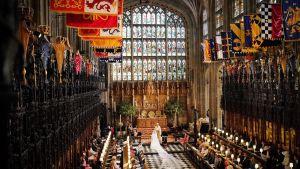 Meghan Markle och prins Harry under vigselceremonin som leddes av ärkebiskopen av Canterbury Justin Welby i St George's Chapel, Windsor Castle