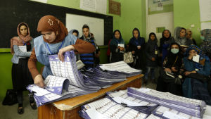 En kvinna bläddrar i en stor bunt papper som ligger på en kateder i ett klassrum. Valfunktionären räknar röster i det afghanska parlamentsvalet.