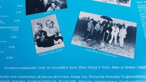 Skivomslag med text och foton på blå bakgrund