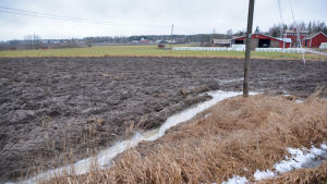 vatten har samlats i kanten på en plogad åker