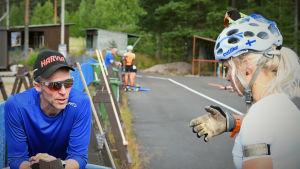 Jonne Kähkönen pratar med Mari Eder på skyttevallen under träningen