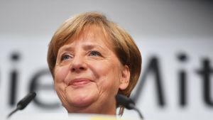 Tysklands förbundskansler Angela Merkel i Berlin den 24 september 2017.