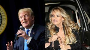 Bildmontage med Stormy Daniels och Donald Trump, båda leende