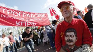 Protester i Moskva mot den ryska pensionsreformen.