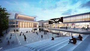 Arkitektens bild av Wasa Station.