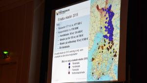 En presentation av ersätta skador år 2015. På bilden syns en karta där skador orsakade av varg är utmärkta.