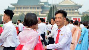 Nordkoreaner i Pyongyang firade under veckoslutet 69 årsdagen av landets grundande