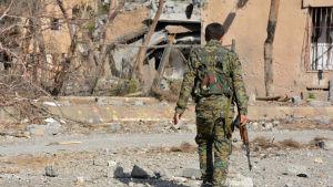 En YPG-krigare går längs med en förstörd gata i terrorgruppen IS tidigare syriska huvudstad Raqqa.