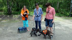 Tre kvinnor står på en parkeringsplats. Två av kvinnorna har varsin kopplad hund. Den tredje kvinan har en katt i famnen.