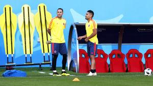 Målvakten David Ospina och anfallaren Radamel Falcao under ett träningspass.