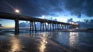 Piren vid Wrightsville Beach, North Carolina, två dagar innan orkanen Florence borde nå kusten.