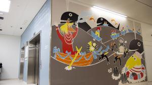 Svenskt mumin sitat och mumin tavla på Nya barnsjukhuset