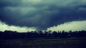 Mörka moln och en virvelstorm sveper över ett skogsområde i skymningen