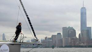 Greta Thunbergs ankomst till New York.