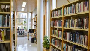 Bokhyllor och fönster i Liljendal bibliotek