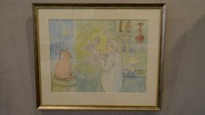 Akvarell av en man och en gris i en ateljé.