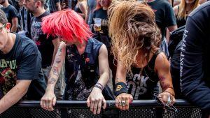 Två åhörare moshar i publiken på en konsert i Hamburg 2016.