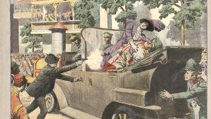 Skotten i Sarajevo illustrerad i den franska tidningen Le Petit Journal den 12 juli 1914.