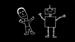 lapsen piirros jossa ihminen ja robotti