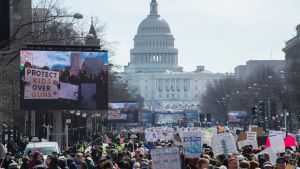 March for Our Lives-marsch i Washington 2018 för striktare vapenlagar.
