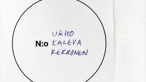 Röstsedel där det står Urho Kekkonen.